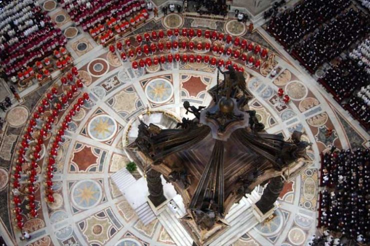 "Cardinals attend the ""Pro Eligendo Papa"" Mass, presided over by German Cardinal Joseph Ratzinger, at the Vatican's St Peter's Basilica"